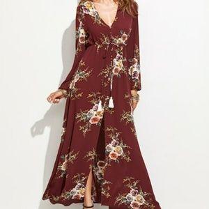 Burgundy Rose Print Drawstring Maxi Dress